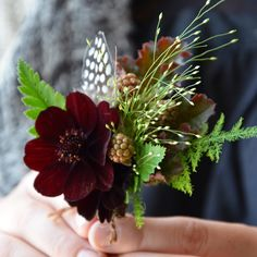 Feathers, Explosion grass and unripe raspberries. Perfect for a rustic wedding.