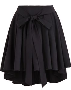 Belt Pleated Black Skirt
