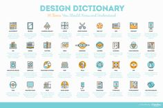 Need to brush up on your designer lingo? The Design Dictionary: 36 Terms You Should Know and Understand + Cheatsheet by Igor Ovsyannykov at Creative Market is a great place to start. The terms included will help ensure you know what you're talking about (and what they're talking about) when you discuss a project with a client or supervisor.