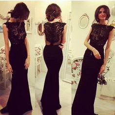 Elegante Con Cuentas Apliques de Encaje Sirena Negro Vestidos de Baile 2016 de Long Piso-Longitud Gasa Vestido de Partido de Las Mujeres