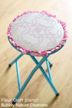 Add the Fleur Craft Stencil from Cutting Edge Stencil to create the perfect DIY stool! http://www.cuttingedgestencils.com/Fleur-Craft-Stencil-Kathy-Peterson.html >>     #stencils #cuttingedgestencils #stenciling #stencilpatterns