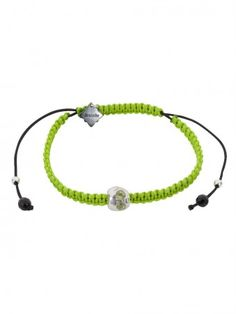 Baby Skull & Braided Neon Cord Bracelet with Peridot eyes by Suicide Blonde