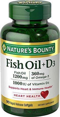 Nature's Bounty Fish Oil 1200 mg + Vitamin D3 1000 IU, 90 Softgels (Packaging May Vary) //Price: $11.55 & FREE Shipping //     #hashtag2