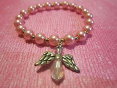 Tween Pink Glass Pearl Bracelet with Angel by BeadazzlingButterfly