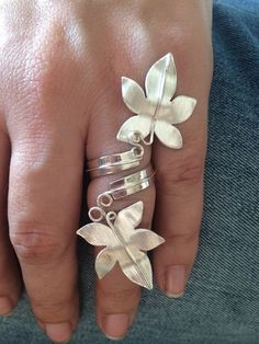 Adjustable Sterling Silver Ring. Leaves. Original. Perfect for special gifts