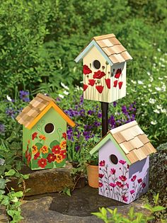 Floral Print Birdhouses, Set of 3 | Gardeners.com