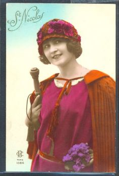 PZ106-ART-DECO-HIGH-FASHION-LADY-HAT-STICK-KITSCH-FRENCH-Tinted-PHOTO-pc