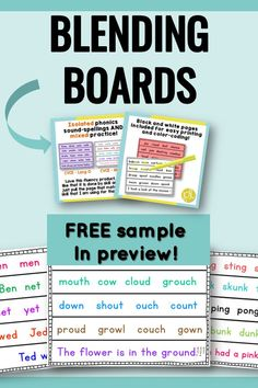 Download two free fluency boards in the preview! These can be used for phonics instruction, fluency development, and progress monitoring. The pages follow a K-2 phonics scope and sequence. Color pages and low-ink black/white formats included. From Positively Learning #fluencypractice #blendingboards