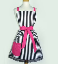 Apron  Vintage Inspired Black and White Striped Chic French Apron FREE SHIPPING. $33.00, via Etsy.