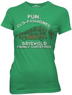 Ladies Old Fashioned Griswold Christmas Vacation Shirt - See more at: http://www.oldschooltees.com/Ladies-Old-Fashioned-Christmas-Vacation-Shirt-p/cvac002.htm#sthash.68Eiz9fb.dpuf  This officially licensed Ladies Christmas Vacation Shirt features the Griswold family station wagon with the Christmas Tree on top.    Fabric Details        Color: Green      100% cotton    Our Price: $17.95