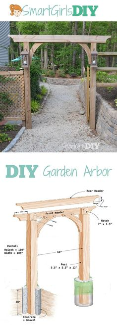You can build this DIY garden arbor thanks to plans from The Family Handyman. It… You can build this DIY garden arbor thanks to plans from The Family Handyman. It's big, but not difficult, only 6 pieces of wood total. Build it yourself! Diy Arbour, Diy Pergola, Pergola Kits, Pergola Ideas, Arbor Ideas, Corner Pergola, Pergola Roof, Cheap Pergola, The Family Handyman