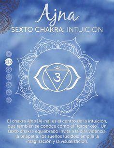 El sexto chakra,Ajna,se encuentra en el área del tercer ojo, que se localiza en el espacio entre las cejas.     Abarca la glándula pituitaria, lo