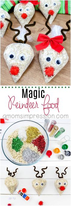 Fun Holiday Kids Craft: Oatmeal Reindeer Food Recipe Santa is not the only one who deserves a little treat! This fun magic Reindeer Food craft recipe is fun to make for kids to spread out in the yard on Christmas Eve. Kids Crafts, Christmas Crafts For Toddlers, Toddler Christmas, Food Crafts, Toddler Crafts, Christmas Eve, Christmas Crafts For Children, Christmas Activities For School, Christmas Decorations Diy For Kids