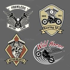 Check out Vintage motorcycle labels by Microvector on Creative Market