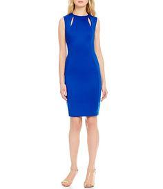 Calvin Klein Slit Sides Sleeveless Scuba Sheath Dress