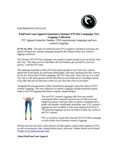FindYourCoast Apparel announces the release of their hand made leggings and their summer FYCKit campaign. Press Release Distribution, June 16, New Woman, Women's Leggings, Finding Yourself, Coast