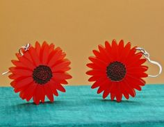 Deluxe Red Gerbera Earrings Frosted Autumnal Red Floral colour to your autumn style with Hand painted Hand finished Floral Centre. made with Sterling silver and perspex Each Charm size: approximately 1.5 inch