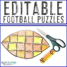 EDITABLE Football Games | Great for Football Theme Activities | 1st, 2nd, 3rd, 4th, 5th, 7th, 8th grade, Activities, Autumn, English Language Arts, Fun Stuff, Games, Homeschool, Math, Middle School