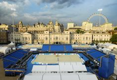 London 2012 Olympic beach volleyball setup in front of Horse Guards