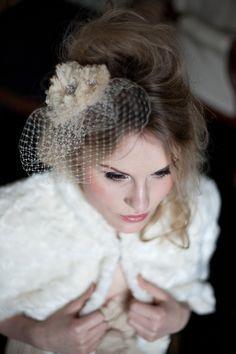 Flower and birdcage veil headpiece by @HTHeadwear