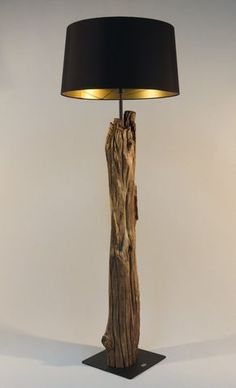 Fresh Floor lamp and arc lamp made of weathered old Oak branch on black  EL36