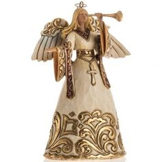 Ángel con la trompeta de Jim Shore (Ivory and Gold Angel)