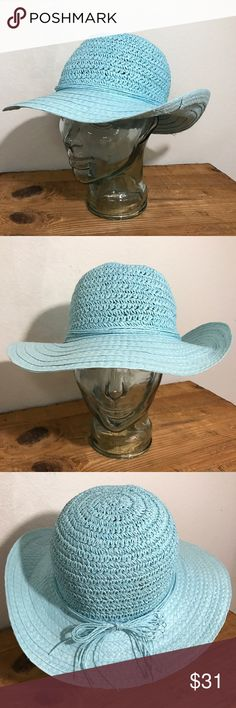Robins Egg Blue Wide Brim Hat 100% Recycled Paper Robins Egg Blue Straw Wide Brim Church Dress Hat 100% Recycled Paper  This is an amazing big floppy hat. Perfect for Easter, spring picnics, even the beach.  There is some signs of wear on the inside brim Please see photos as we do consider them to be a part of the description. Accessories Hats