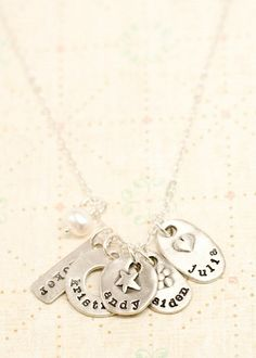 So want this with my kids' names. jumble of charms necklace | Lisa leonard