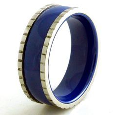 Stainless Steel Ceramic Royal Blue Ring With Block Edges Royal Blue Color, Blue Rings, Timeless Fashion, Wedding Bands, Rings For Men, Stainless Steel, Ceramics, Popular, Jewelry