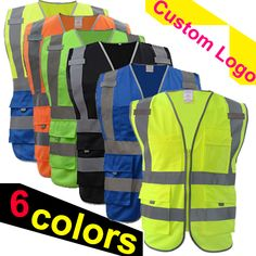Buy Reflective Safety Vest Safety Clothing Working Clothes Provides High Visibility Day & Night For Running at Wish - Shopping Made Fun Safety Clothing, Workplace Safety, Blue Vests, Black Vest, Wish Shopping, Custom Logos, Just In Case, Work Wear, Jackets