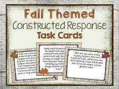 These fall themed constructed response task cards will give students that ever important practice in solving constructed response problems. These are centered around place value, rounding, addition, subtraction, multiplication, and division. $