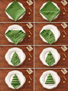 Master Bedroom Decorating Concepts - DIY Crown Molding Set Up Christmas Tree Napkins: Turn A Green Napkin Into A Lovely Christmas Craft With This Linen-Folding How-To. Christmas Tree Napkins, Christmas Crafts, Christmas Christmas, Christmas Recipes, Christmas Ornaments, Halloween Crafts, Christmas Ideas, Ostern Party, Diy Christmas Decorations Easy