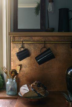 Kitchen of the Week: deVol's Urban Rustic Kitchen Gets a Glamorous Update Rustic Kitchen Cabinets, Kitchen Decor, Kitchen Design, Kitchen Ideas, Kitchen Storage, Copper Backsplash, Copper Countertops, Urban Rustic, Rustic Industrial