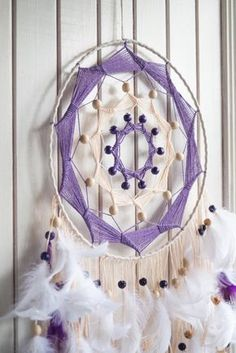 Large dream catcher, White dream catcher, White Purple dreamcatcher, Wall…