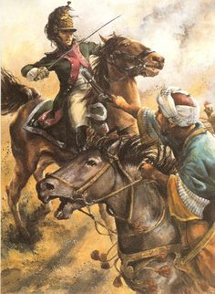 French dragoon, left, charges at The Battle of Nazareth, April, 1799.  The battle resulted from Napoleon's Egypt campaign - Christa Hook.