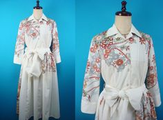 Shirt collar kimono dress - used kimono of vintage - US size 8 by PriscillaTokyo…