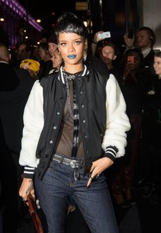 Spotted: Rihanna wears something blue on Sept. 10 in London