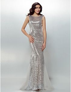 Formal Evening Dress Trumpet/Mermaid Jewel Sweep/Brush Train Sequined Dress – USD $ 159.99