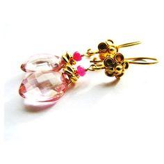 SALE 30% OFF, Pink Quartz Drop Earrings, Pink Sapphire Earrings, Fancy... ($30) ❤ liked on Polyvore featuring jewelry, earrings, dangle earrings, fancy earrings, long drop earrings, quartz earrings and pink sapphire earrings