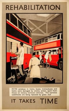 Transport Poster It Takes Time Bus Windows Fred Taylor 1945