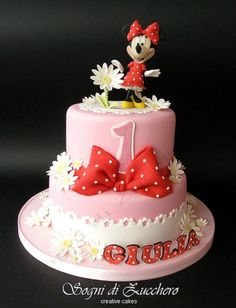 Minnie Mouse cake - Love the name! Remember this for Raegan or Payton! Mickey And Minnie Cake, Bolo Minnie, Mickey Cakes, Minnie Mouse Cake, Pink Minnie, Pretty Cakes, Beautiful Cakes, Amazing Cakes, Disney Inspired Food