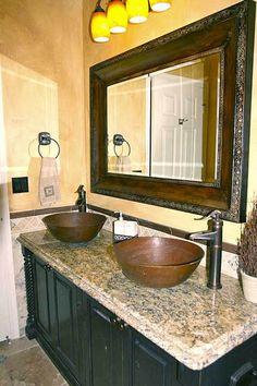 Copper Vessel Sinks Bathroom Remodel