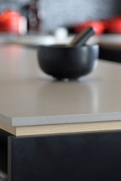"""Sally Steer Design Wellington, New Zealand. Caesarstone """"Raw Concrete"""" with Oak negative detail. Caesarstone Raw Concrete, Design Kitchen, Kitchen Ideas, House Renovations, Black Kitchens, Benches, Home Interior Design, Sally, Fresh"""
