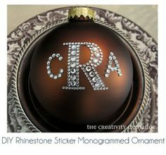 Tutorial wasn't here, but it looks easy and so elegant in the rich brown. DIY Rhinestone Sticker Letter Ornament {The Creativity Exchange}