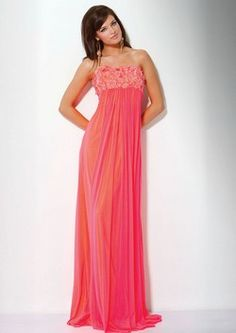 Jovani Style 15326 Coral Size 16 XL Prom or Pageant Gown. Grecian style with rosettes at bodice, flowing skirt.
