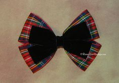 "Any Combo!  Velvet Over Plaid Double Butterfly Style Hair Bow - 4"" Holiday, Special Occasion, Wedding, Plaid and Velvet RoseyBow®"