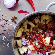 Spicy Rhubarb Chutney With Red Onion & Apple on @the_feedfeed https://feedfeed.info/rhubarb/eatinmykitchen/spicy-rhubarb-chutney-with-red-onion-apple