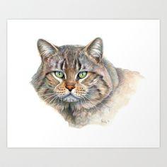 Street Cat portrait CC1402 Art Print by S-Schukina - $22.88
