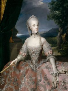 A portrait of Maria Carolina of Austria by Anton Raphael Mengs. Maria Carolina was a daughter of Maria Theresa and one of Marie Antoinette's closest sisters. Marie Antoinette, Naples, Maria Theresia, Royal Marriage, Rococo Fashion, Holy Roman Empire, Court Dresses, 18th Century Fashion, 17th Century