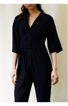 Fabric Shop, Black And Navy, Body Measurements, Wrap Style, Hemline, Jumpsuit, Fashion, Overalls, Moda